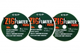 Леска нейтральной плавучести E-S-P ZIG & FLOATER Mono - 100m  - Clear
